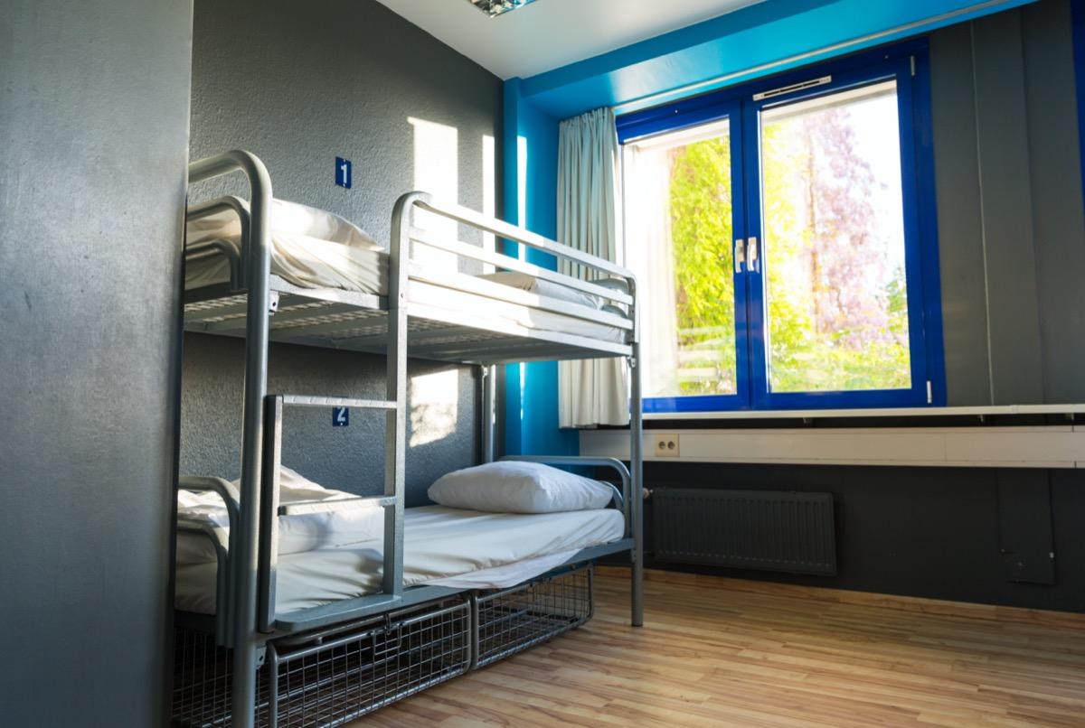gray metal bunk bed in kids room