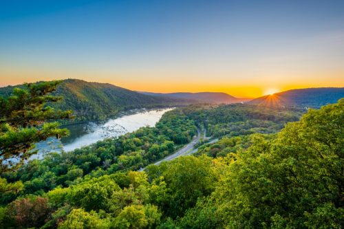 landscape photo of Harper's Ferry, West Virginia at sunset