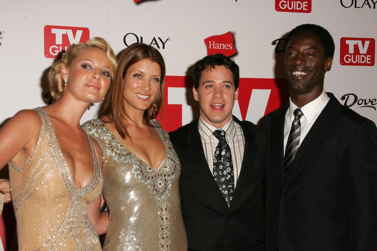 """Katherine Heigl, Kate Walsh, T.R. Knight, and Isaiah Washington, stars of """"Grey's Anatomy,"""" at the TV Guide Emmy After Party at Social August 27, 2006 in Hollywood"""