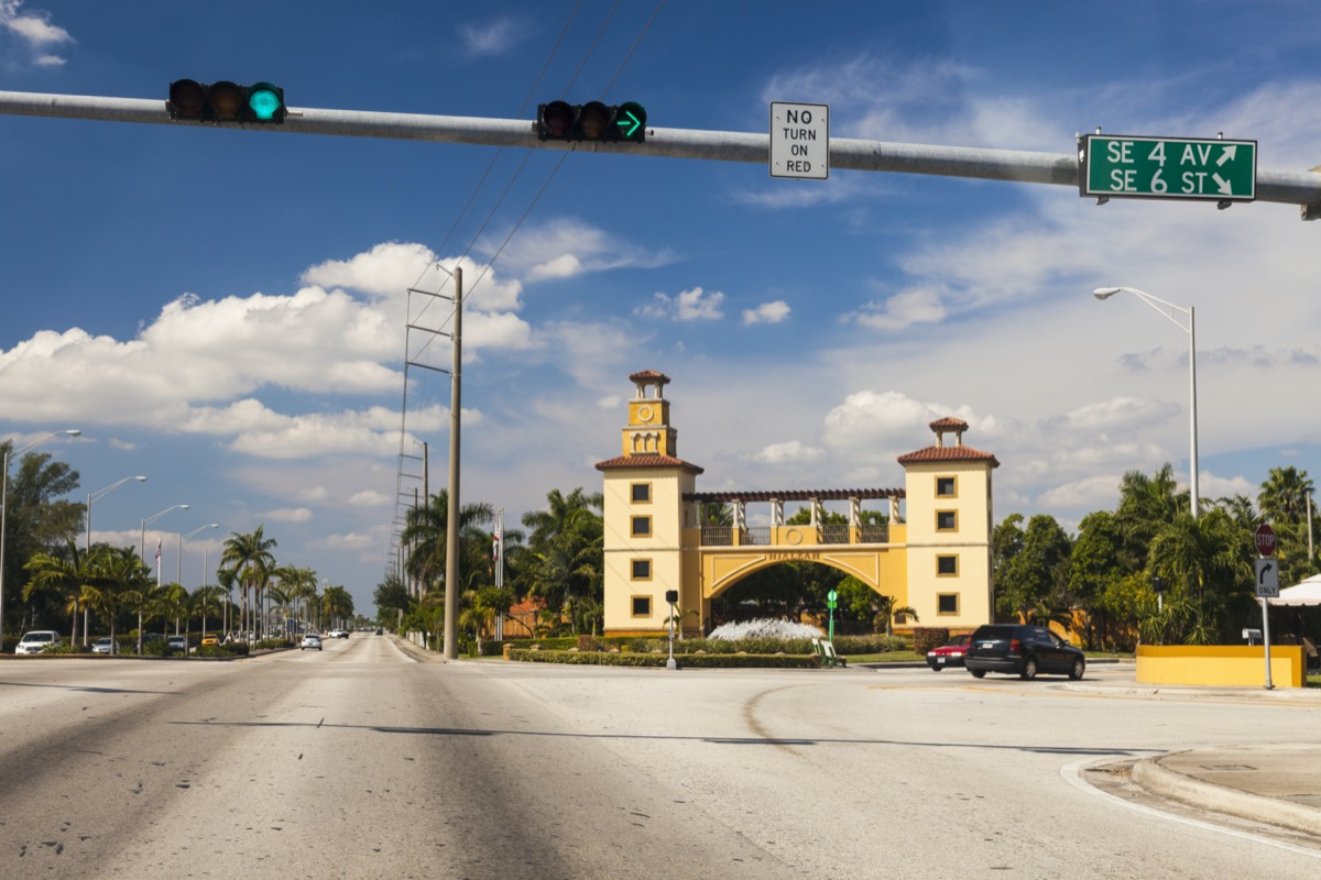 street and Hialeah Monument in downtown Hialeah, Florida