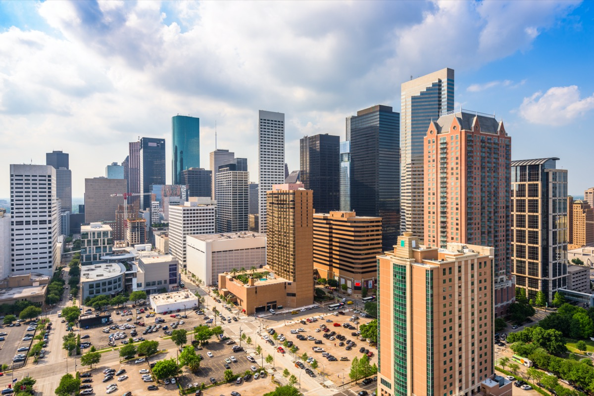 city skyline of and buildings in downtown Houston, Texas