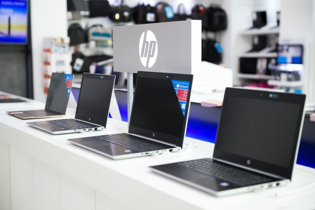 hp laptops on display in store