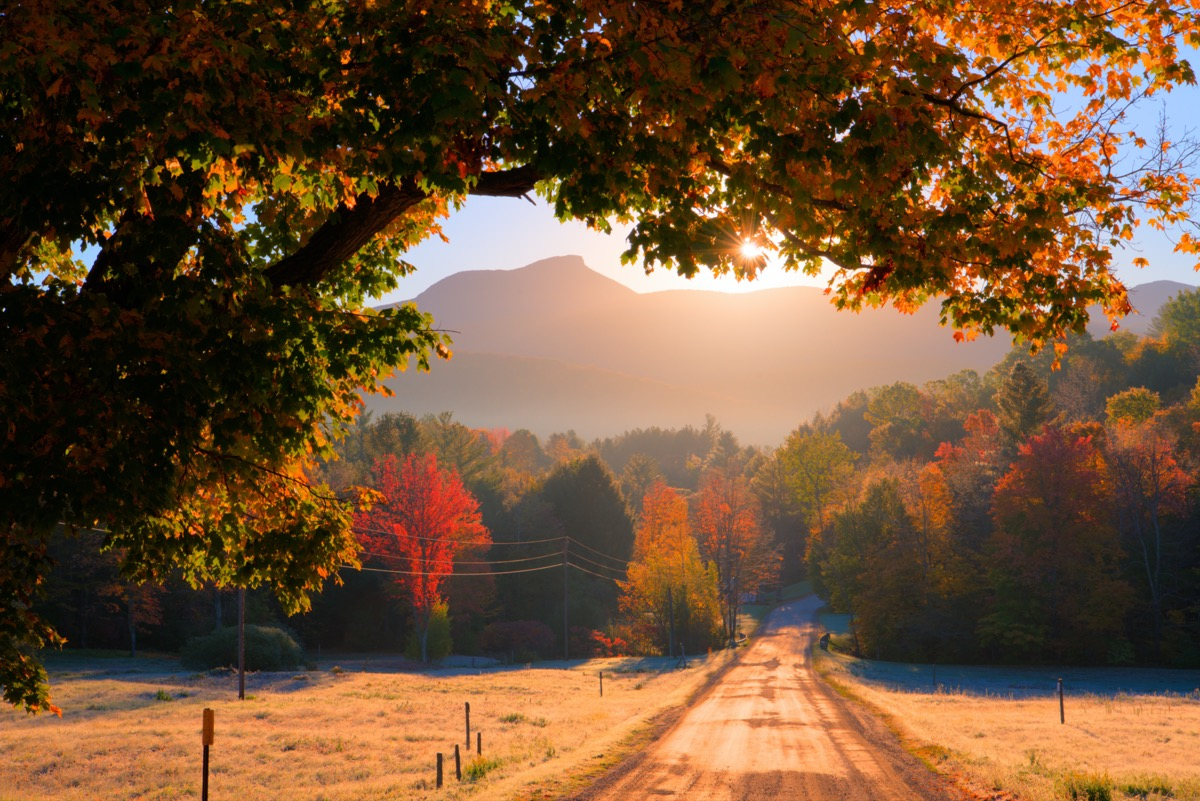 road and trees in front of a mountain in Huntington, Vermont at sunrise