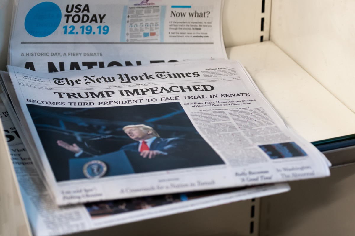 Donald Trump impeached New York Times Paper