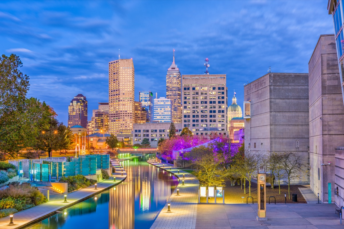 cityscape photo of Indianapolis, Indiana at night