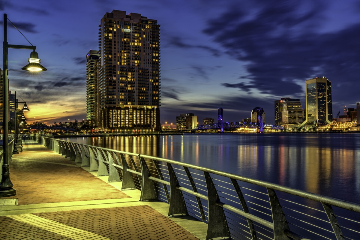 cityscape photo of river and broad walk in Jacksonville, Florida