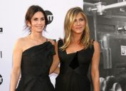 Courteney Cox, Jennifer Aniston at the American Film Institute Lifetime Achievement Award to George Clooney at the Dolby Theater on June 7, 2018 in Los Angeles, CA