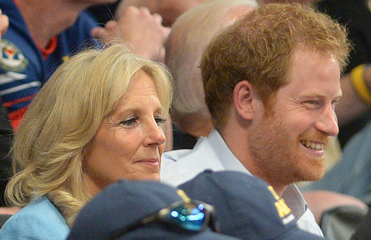 U.S. Second Lady Dr. Jill Biden (l) and Britain's Prince Harry watch a wheelchair rugby gold medal match between the United States and Denmark at the 2016 Invictus Games at the ESPN Wide World of Sports Complex in Orlando, Florida on May 11, 2016.