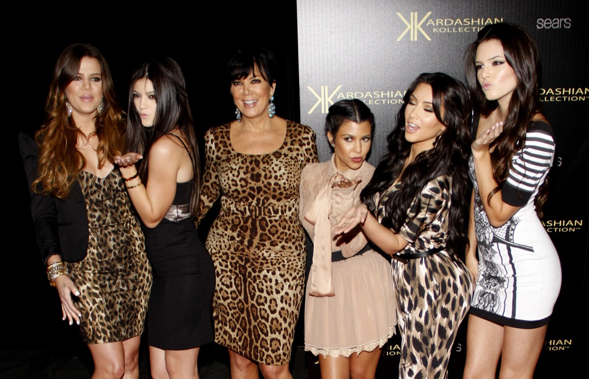 Khloe, Kourtney, and Kim Kardashian, and Kylie, Kendall, and Kris Jenner at the Kardashian Kollection Launch Party in 2011