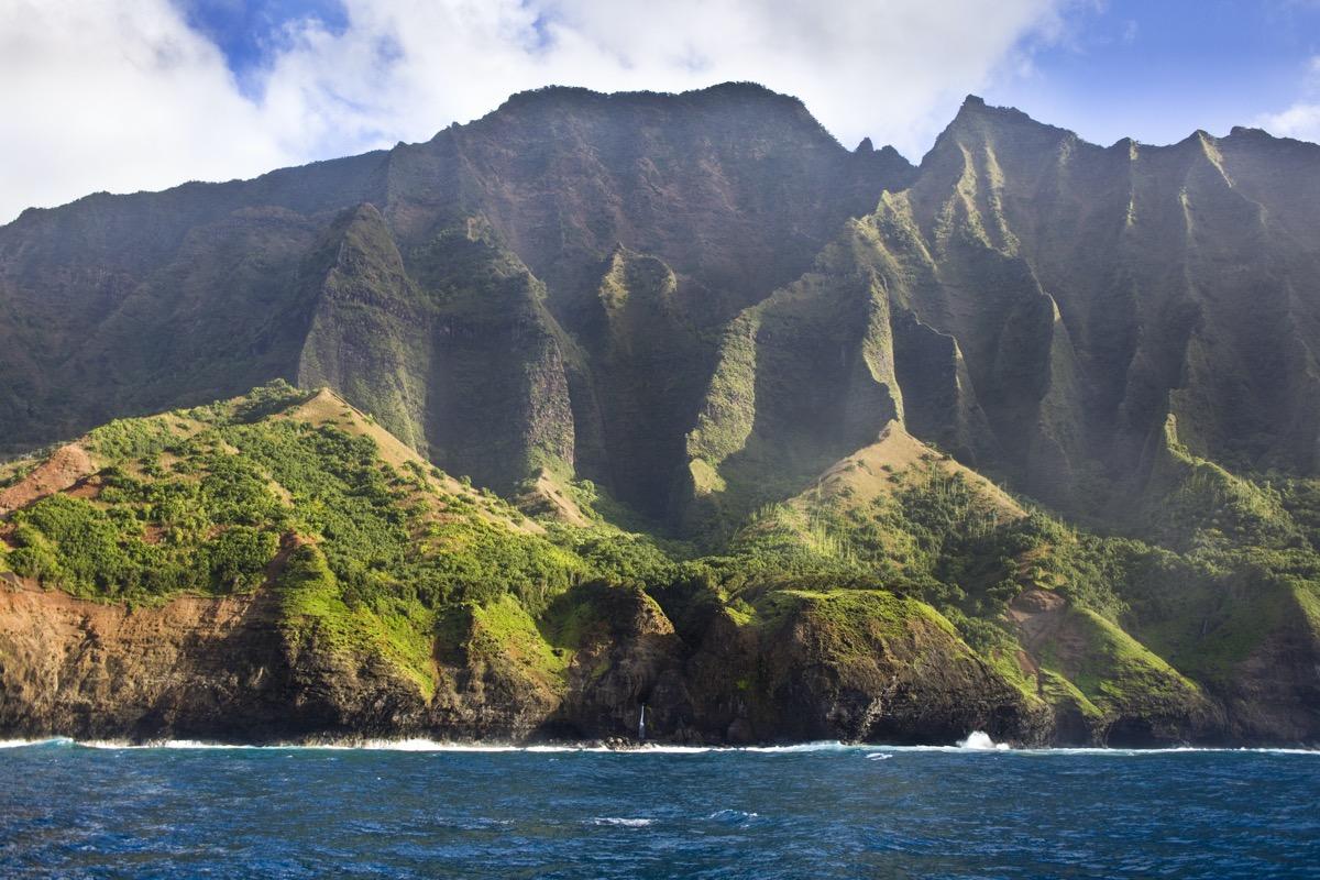 landscape photo of the coastline of Na Pali Coast and mountain in Kauai, Hawaii
