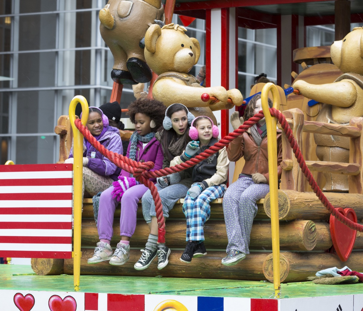 Kids on a float in the Macy's Thanksgiving Day Parade