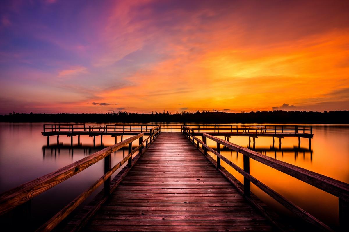 Elvis Presley Lake in Lee County, Mississippi at dusk