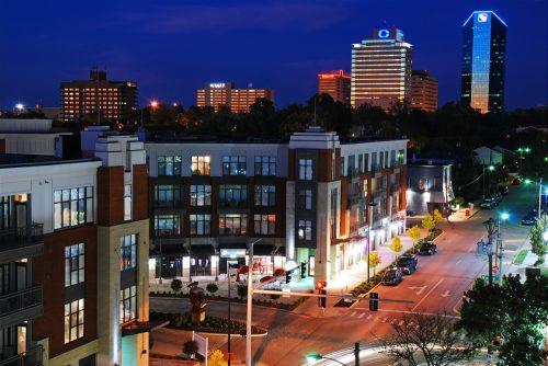 cityscape photo of downtown Lexington, Kentucky at night