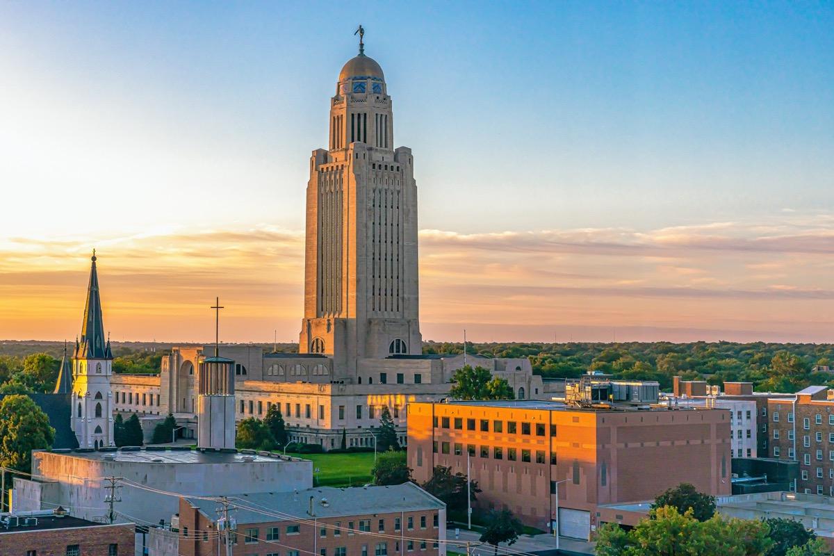 Nebraska State Capitol and downtown Lincoln, Nebraska at sunrise
