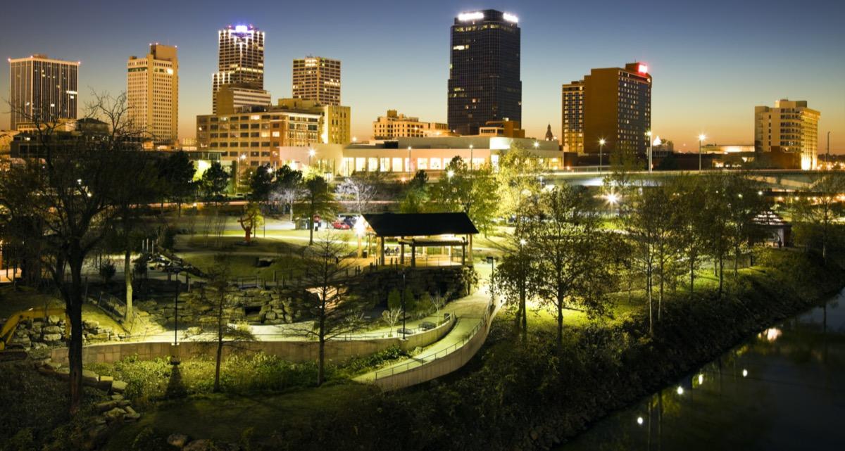 cityscape photo of Little Rock, Arkansas at night