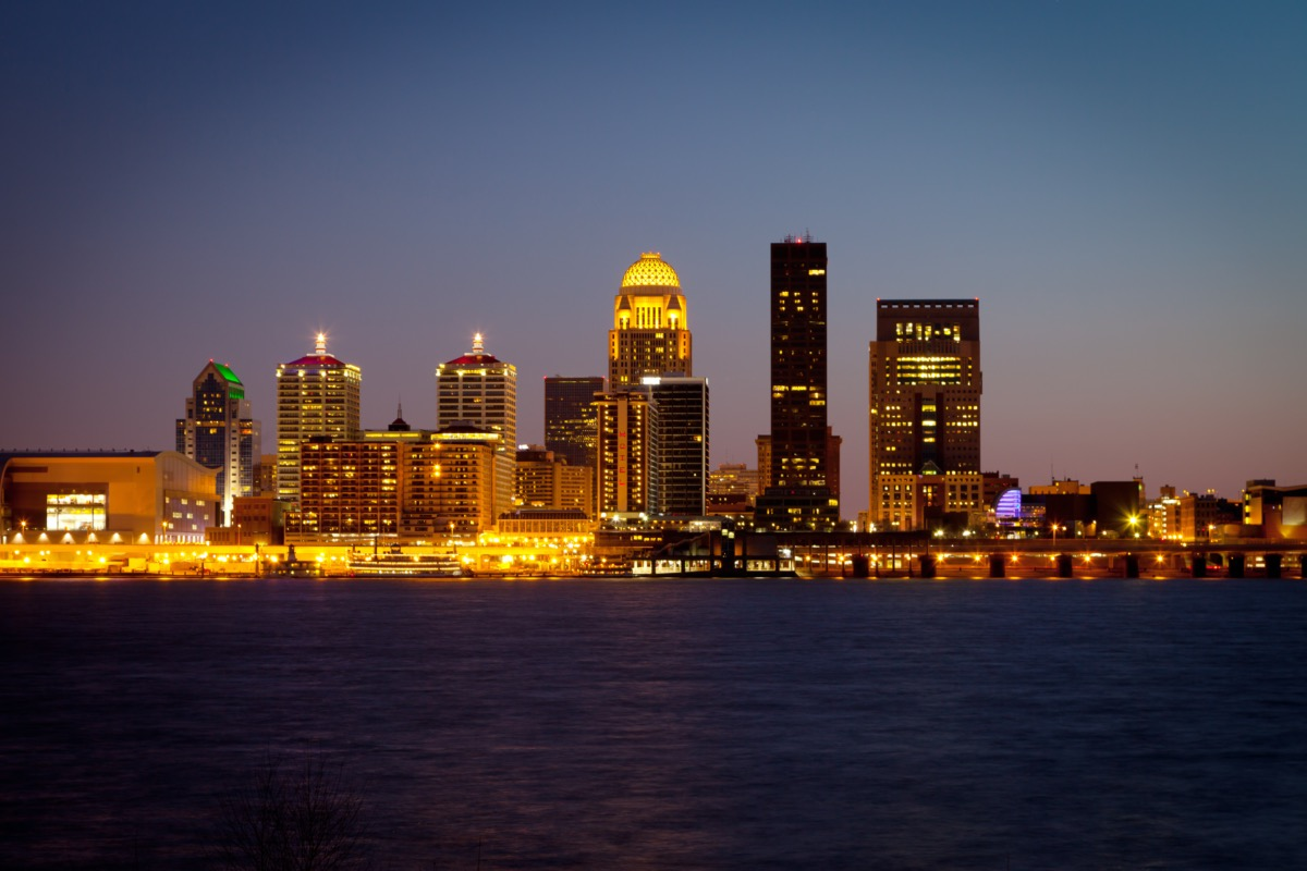 cityscape photo of a river and buildings in Louisville, Kentucky at night