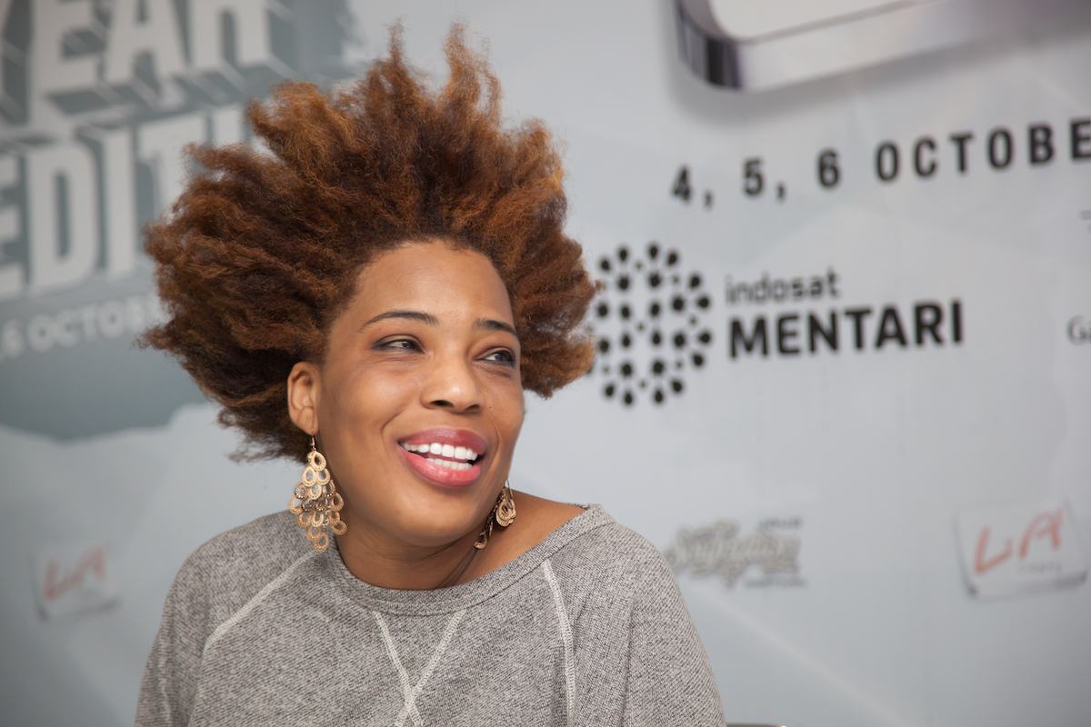 American singer, Macy Gray is giving a press conference at the 6th LA Lights Java Soulnation Festival 2013 on October 6, 2013 in Jakarta, Indonesia.