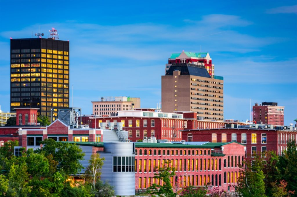 city skyline of buildings in Manchester, New Hampshire