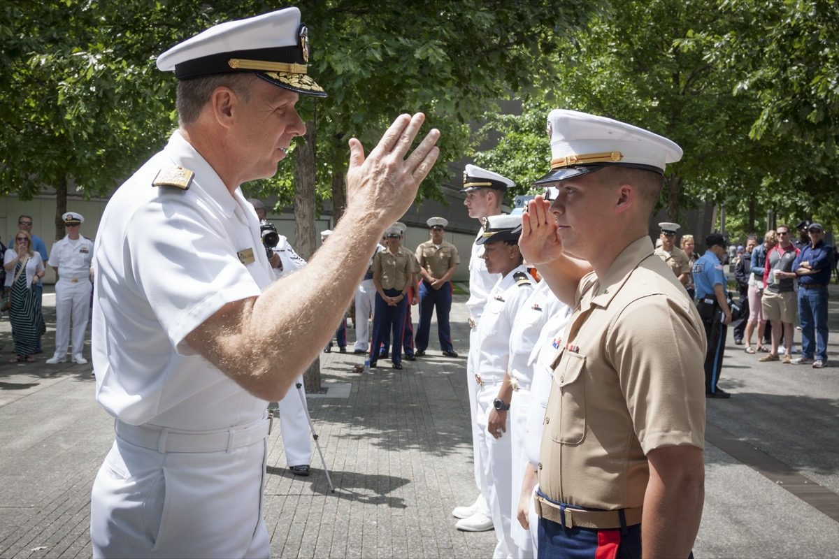 two U.S. marines saluting to each other