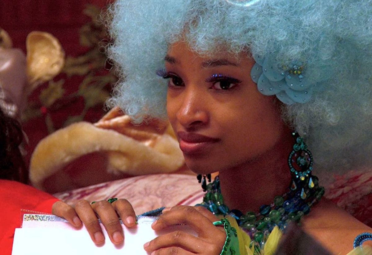 young black woman with blue hair