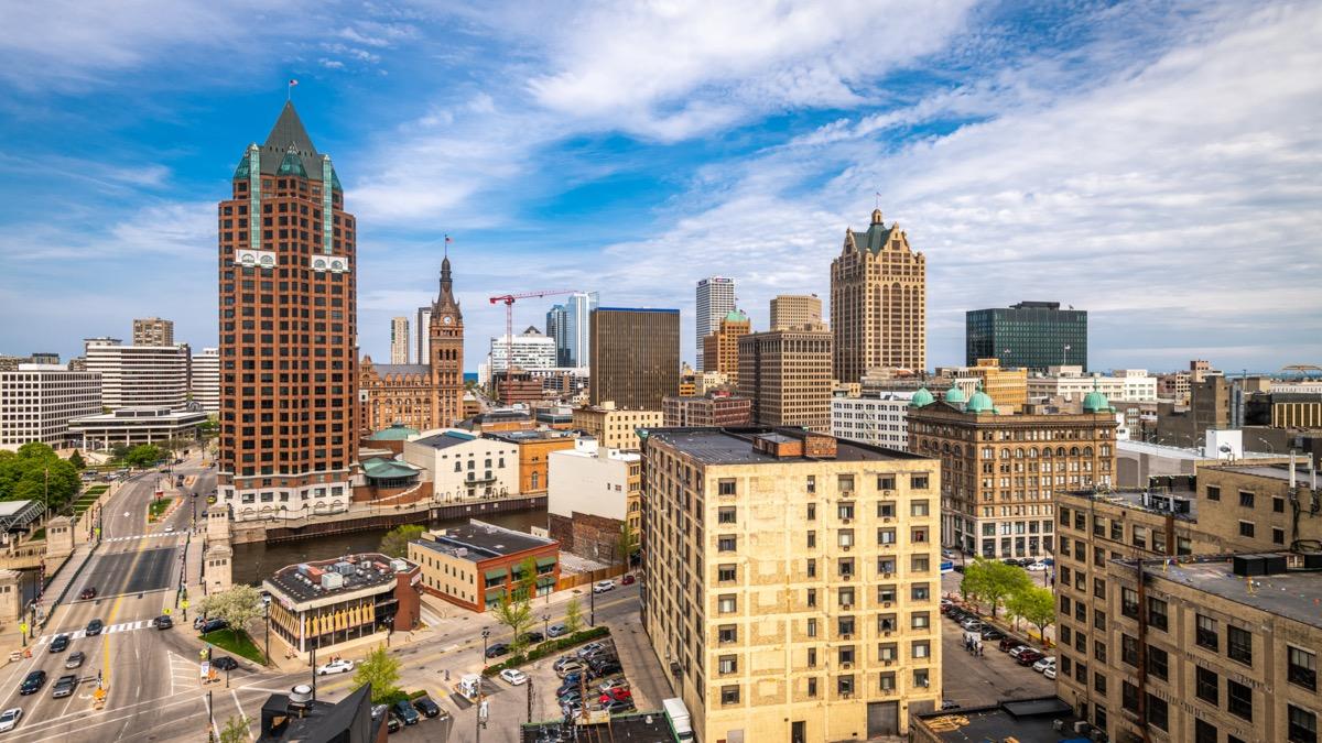 city skyline in downtown Milwaukee, Wisconsin