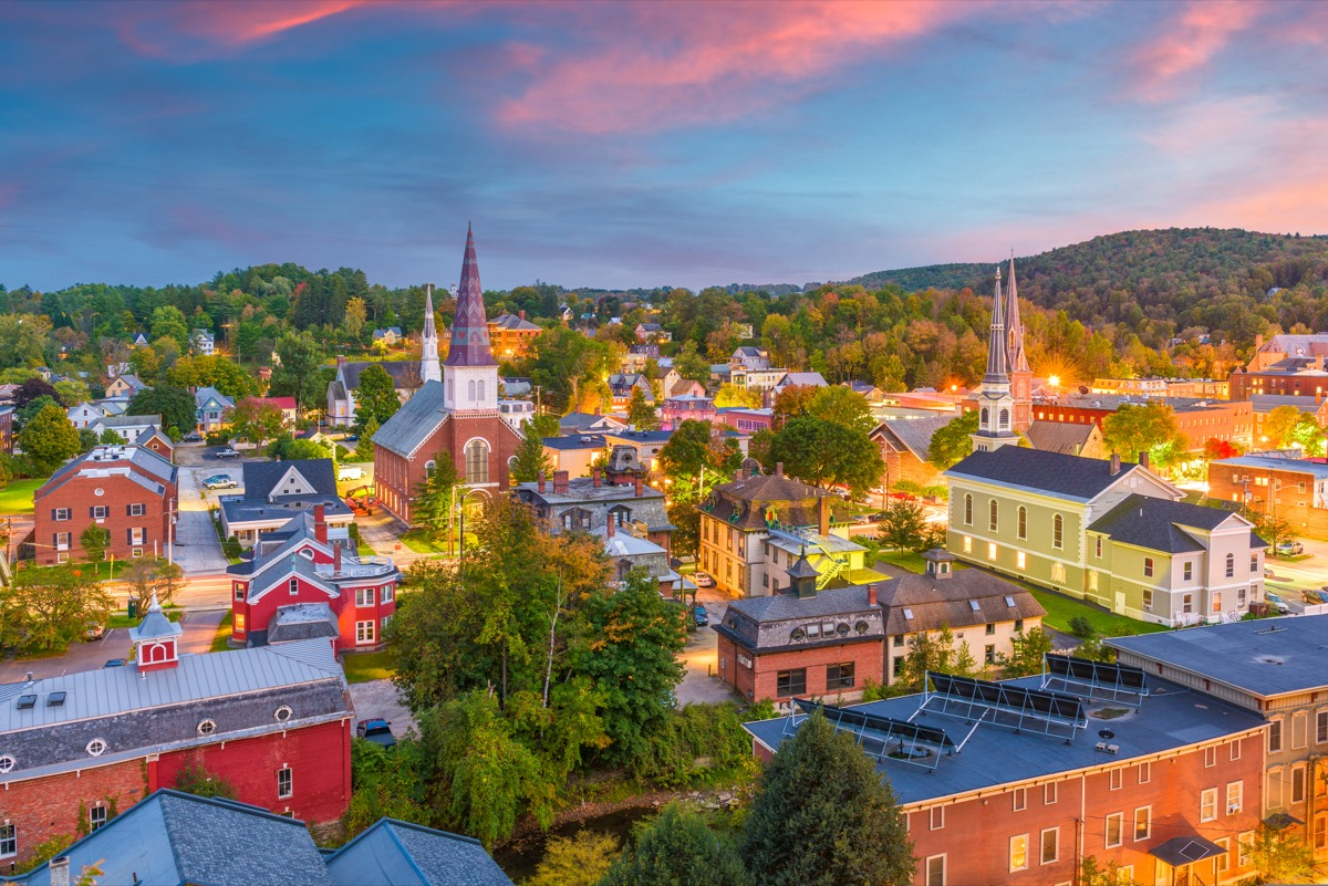 city skyline and buildings in Montipelier, Vermont at twilight