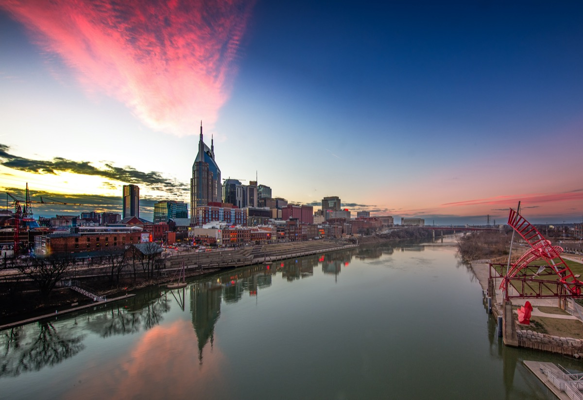 city skyline and river in Nashville, Tennessee