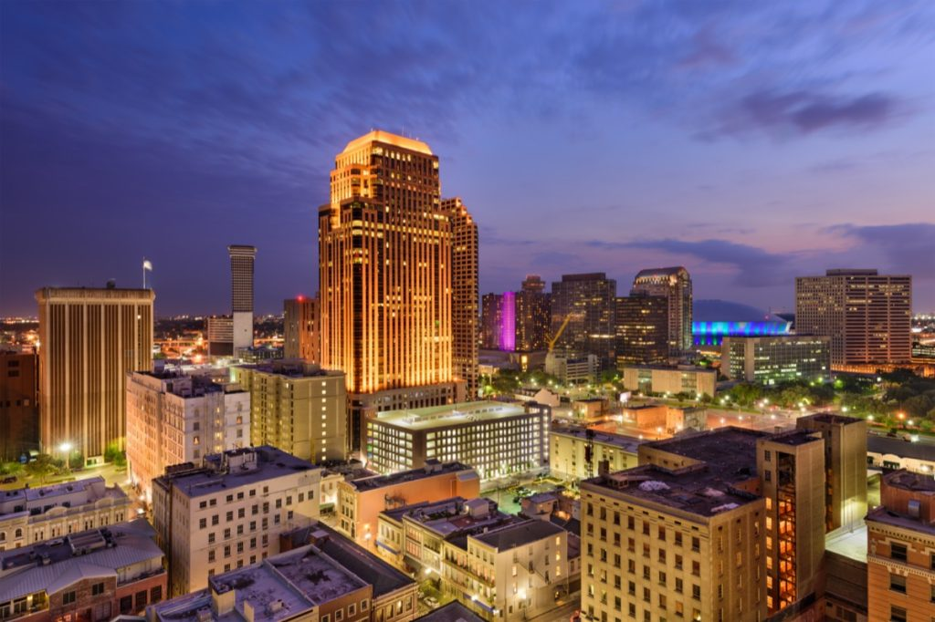 cityscape photo of buildings in New Orleans, Louisiana at night