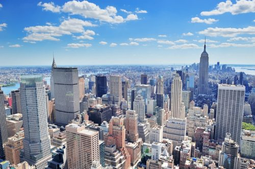 cityscape photo of buildings and the skyline in New York City, New York