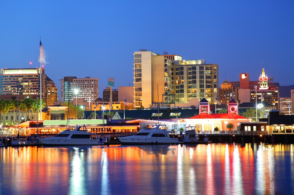 cityscape photo of a waterfront and the downtown area in Oakland, California