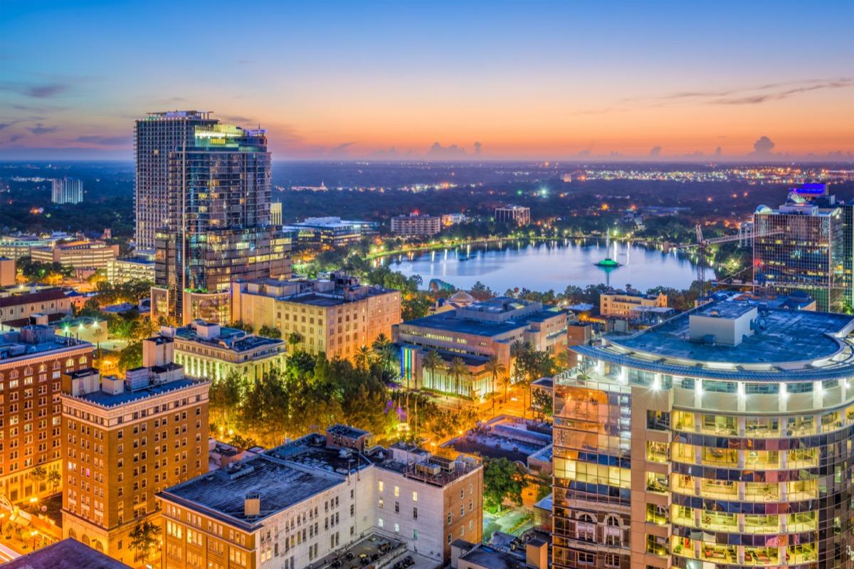 cityscape photo of the downtown area of Orlando, Florida
