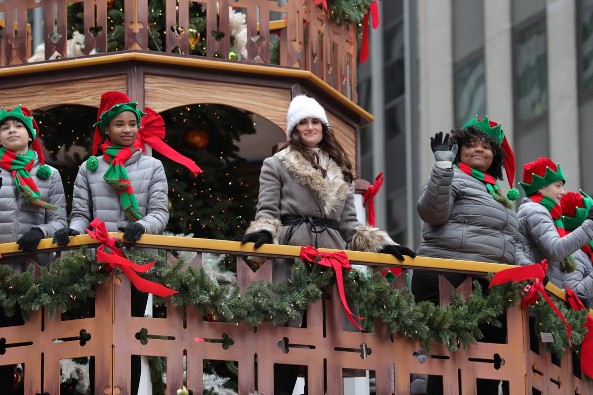 Idina Menzel on a float performing at the Macy's Thanksgiving Day Parade
