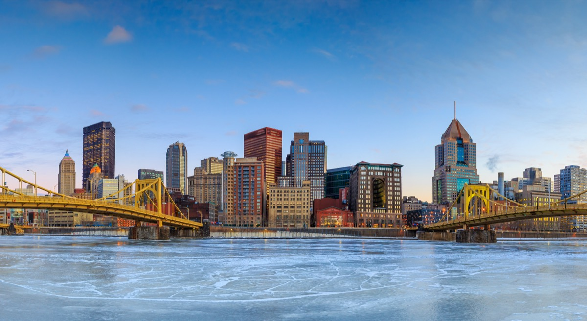 city skyline of downtown Pittsburgh, Pennsylvania at twilight