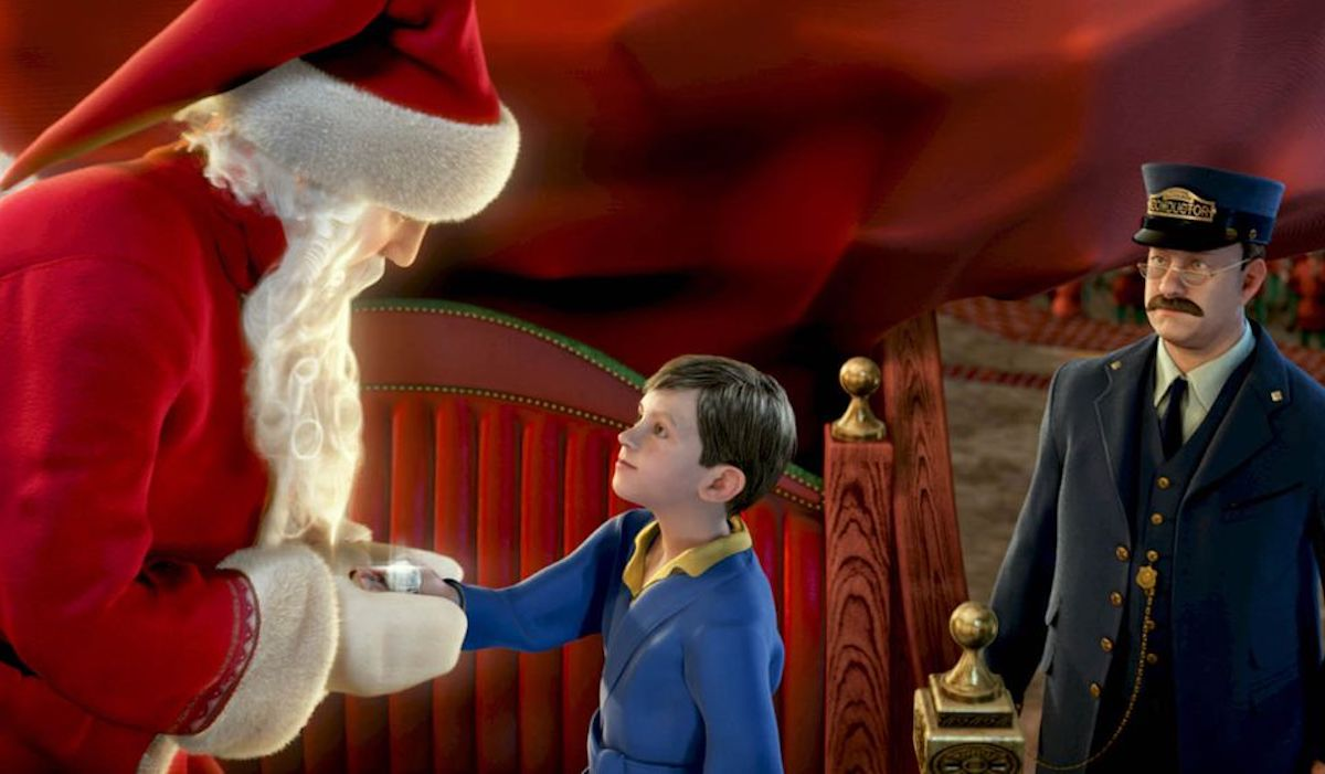santa and conductor in the polar express movie