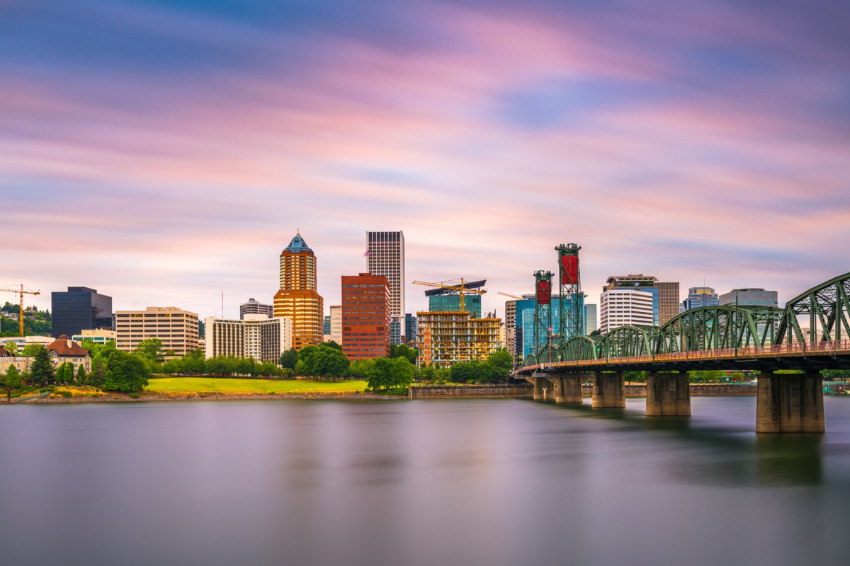 city skyline of and the Willamette River in Portland, Oregon