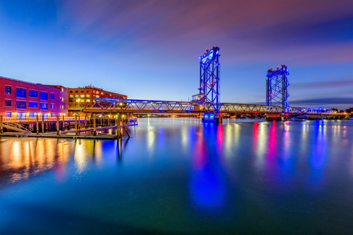 cityscape photo of Portsmouth, New Hampshire at night