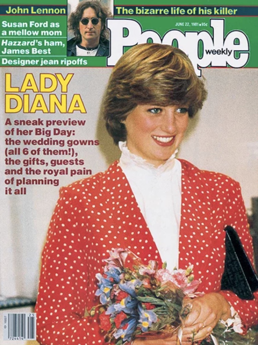 Princes Diana wearing a red jacket with white polka dots and a white turtle neck on the cover of People