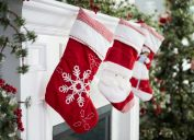 red christmas stockings on mantle