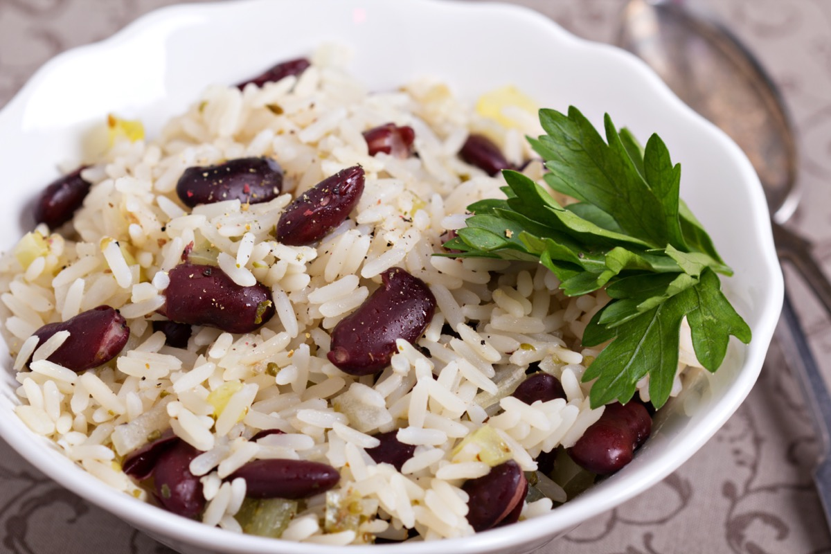 rice and beans in bowl