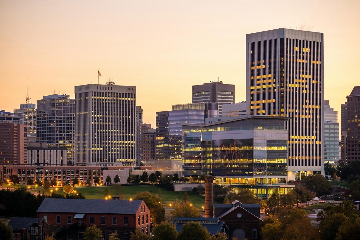cityscape photo of Richmond, Virginia at sunset