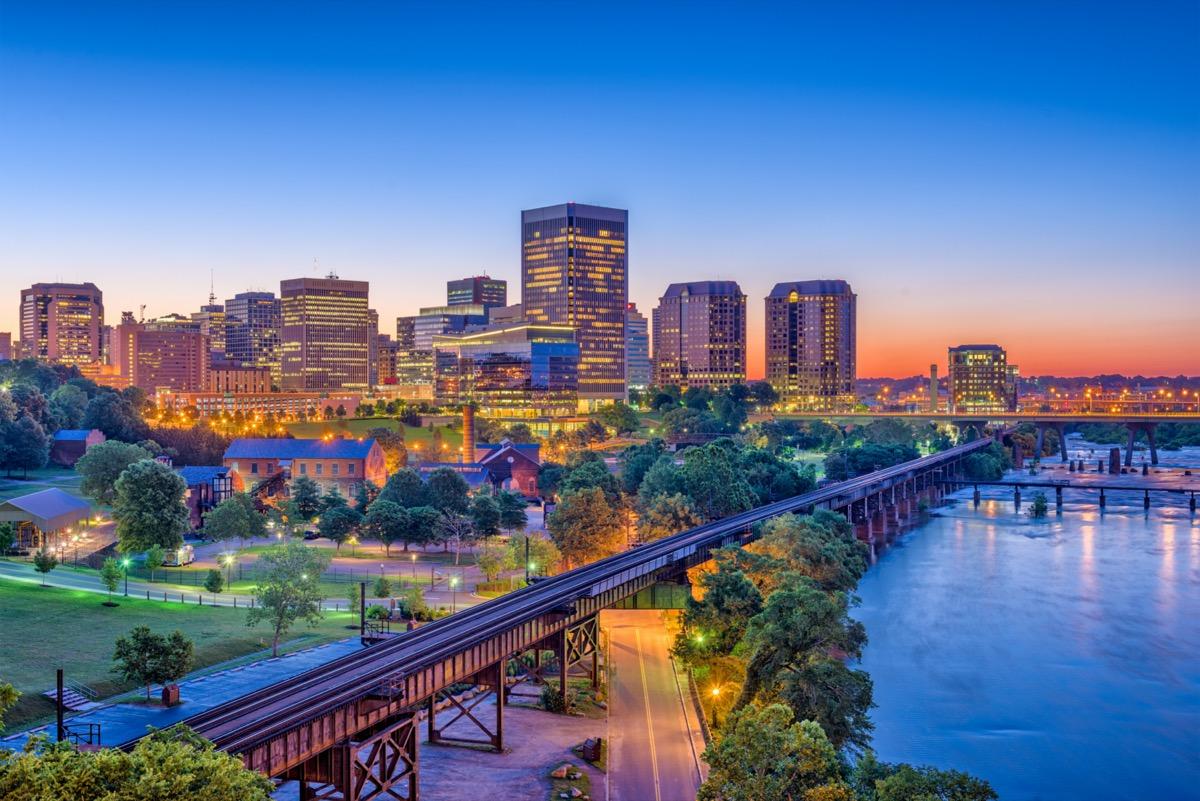city skyline in downtown Richmond, Virginia at dusk