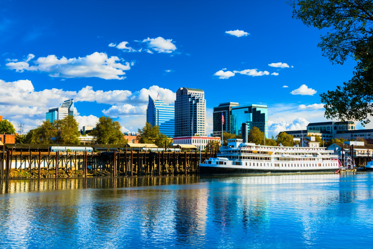 riverboat in and city skyline of downtown Sacramento, California