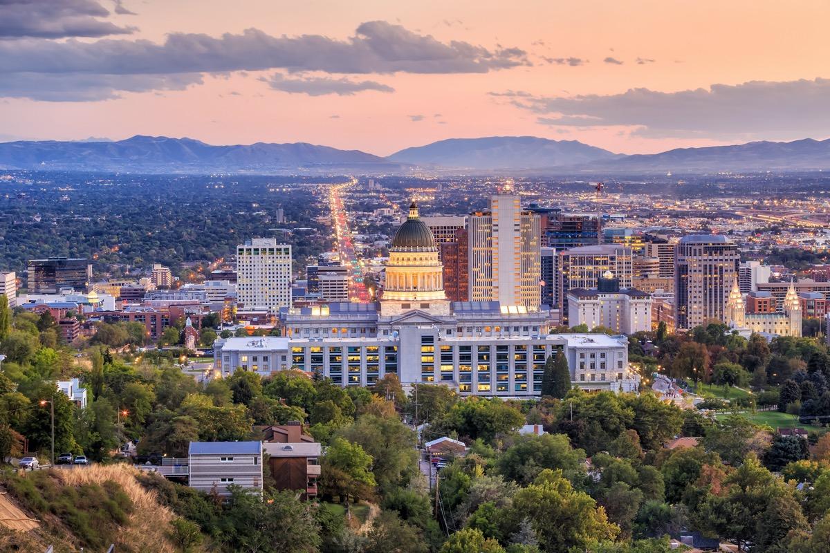 city skyline of downtown Salt Lake City, Utah at dusk