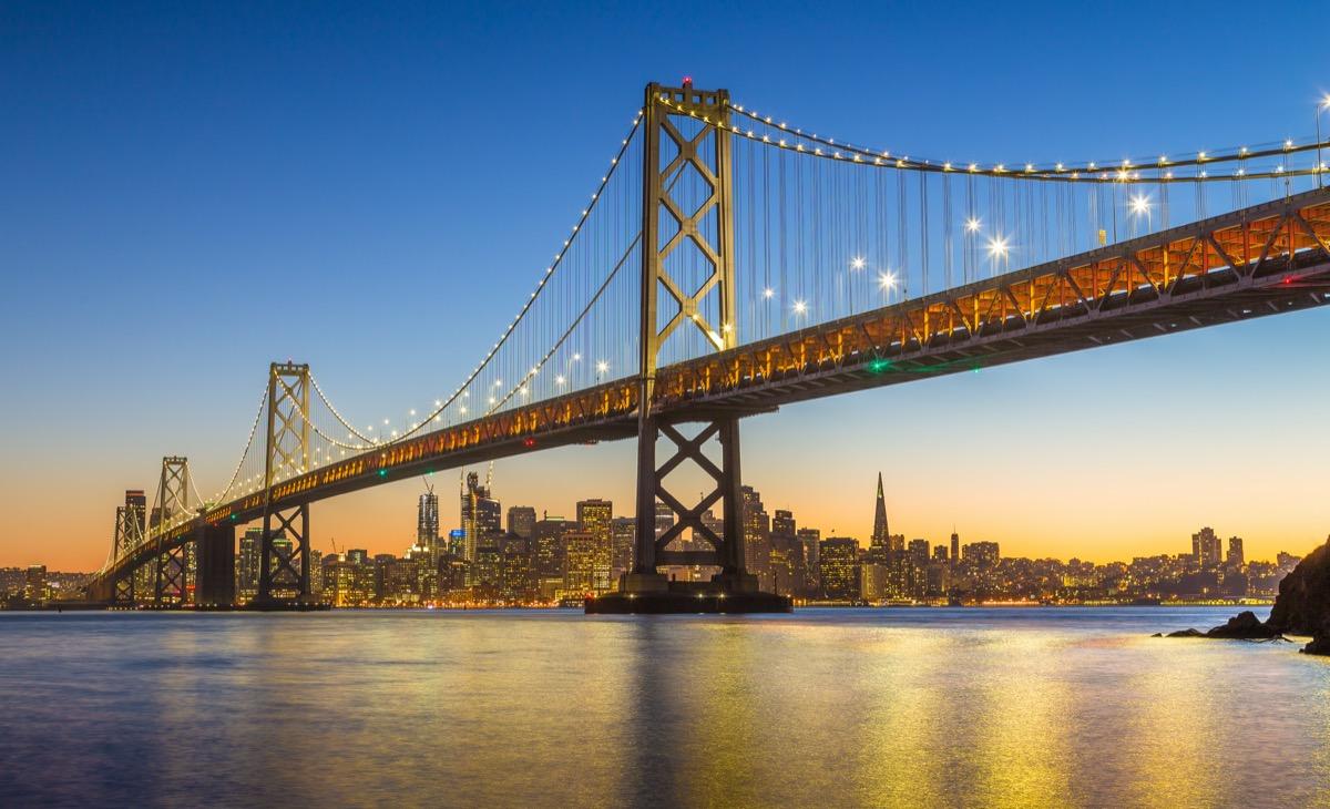 cityscape photo of a bridge and river in San Francisco, California at night