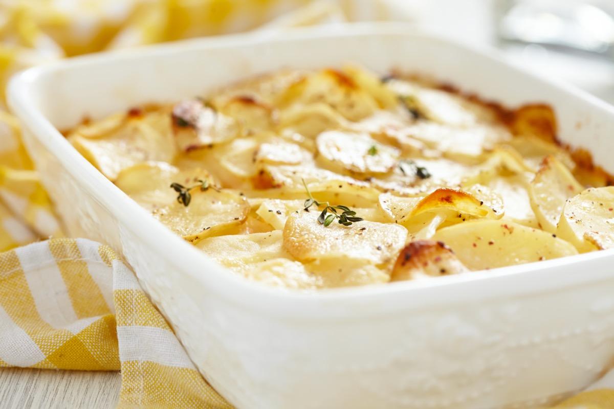 dish of scalloped potatoes