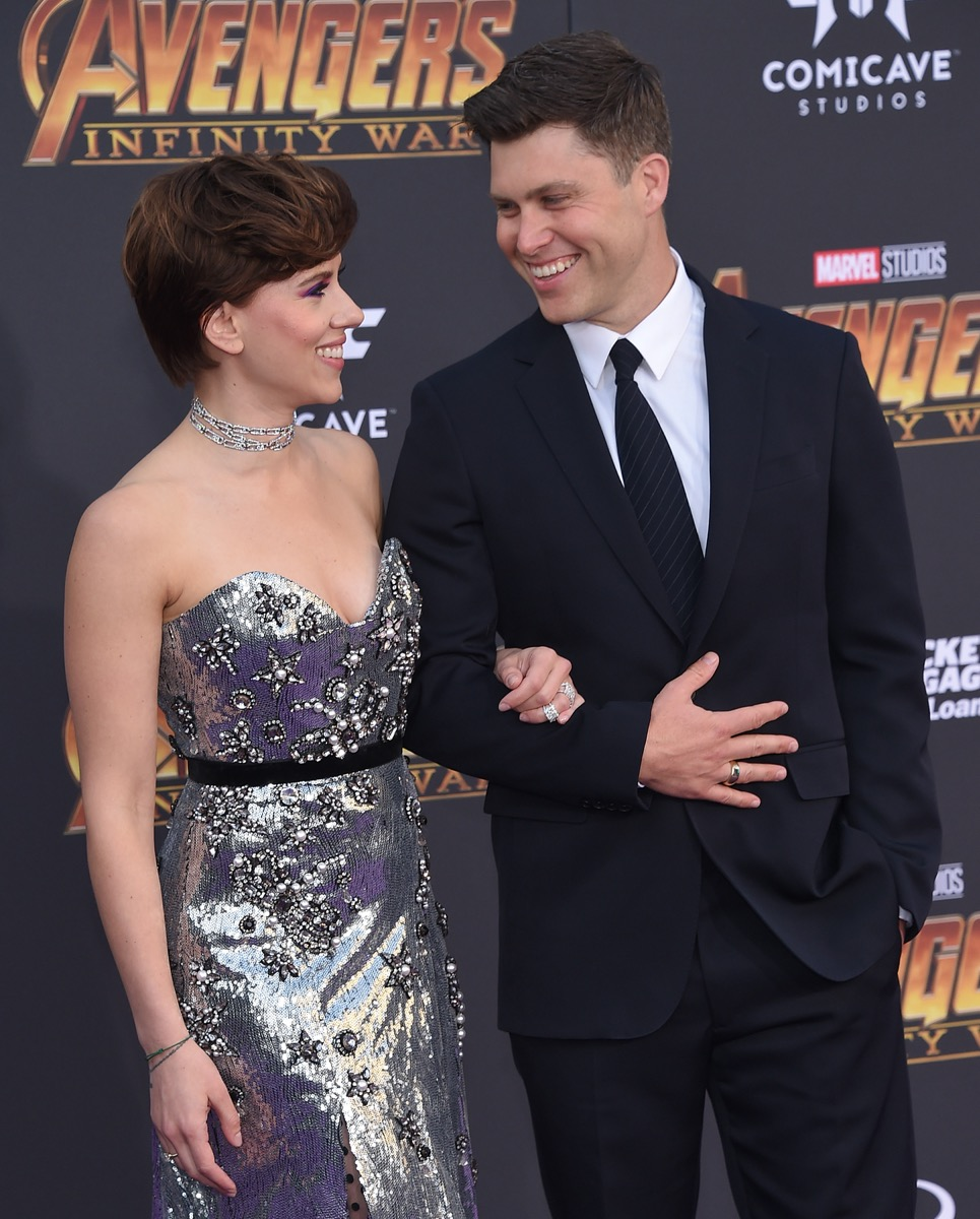 Scarlett Johansson and Colin Jost at the premiere of Avengers: Infinity War' in 2018