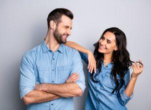 Flirty man and woman