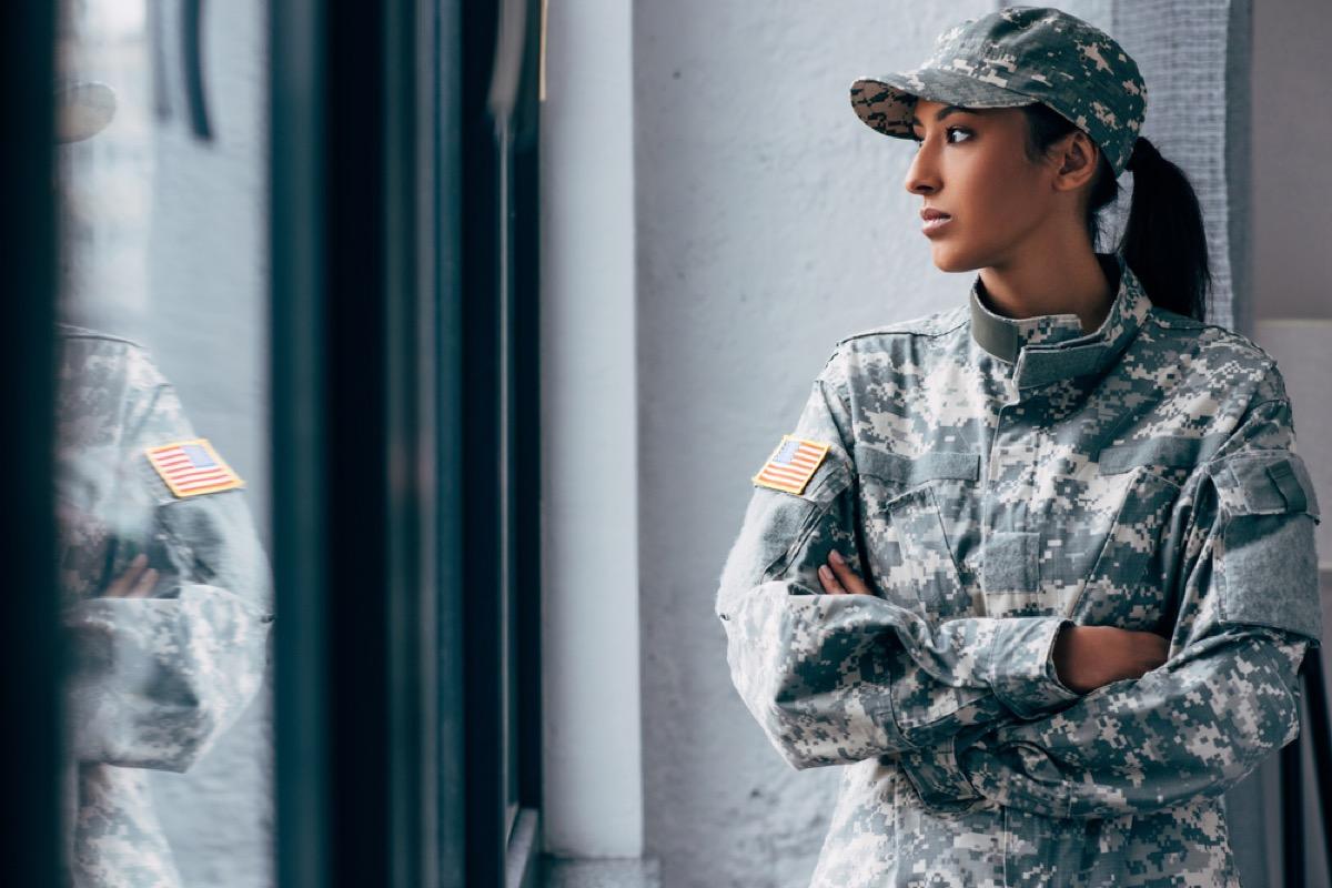 black woman in american military uniform