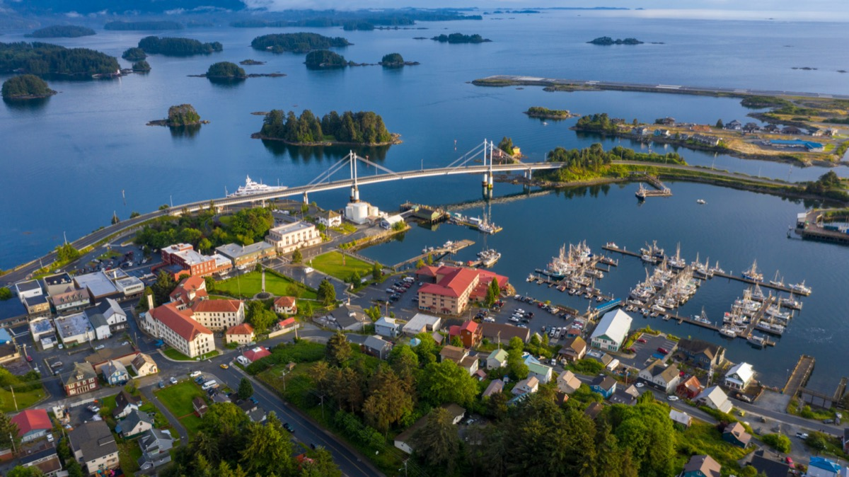 photo taken by a drone of the downtown area of Sitka, Alaska