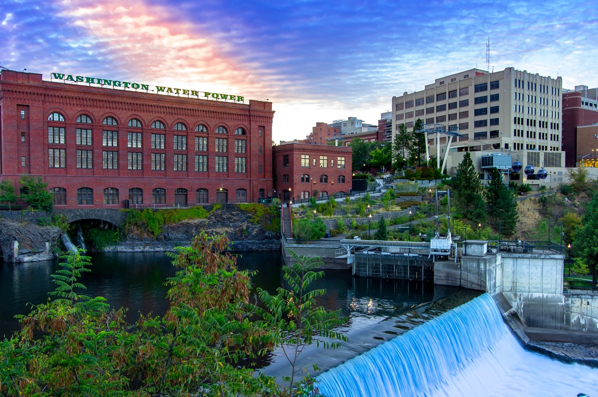 cityscape photo of a flowing river, lake, and buildings in downtown Spokane, Washington